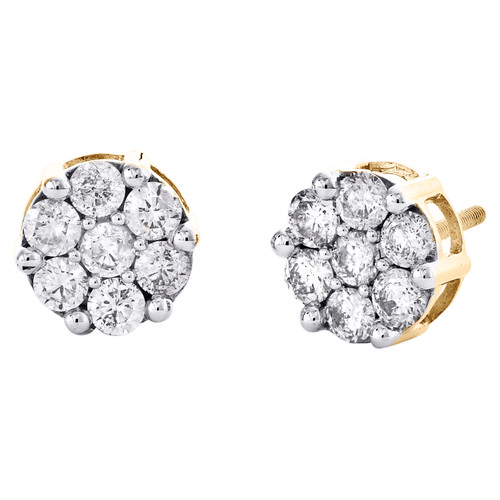 14K Yellow Gold Round Diamond Flower Stud 9mm Prong Set Cluster Earrings 1.70 CT