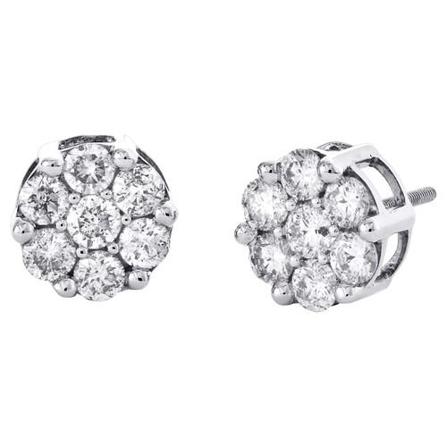 14K White Gold Round Diamond Flower Stud 10mm Prong Set Cluster Earrings 2.1 CT.