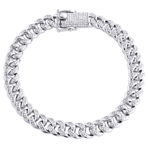 "Sterling Silver Diamond Miami Cuban Link 8.75mm Bracelet 8"" Box Clasp 1.75 CT"