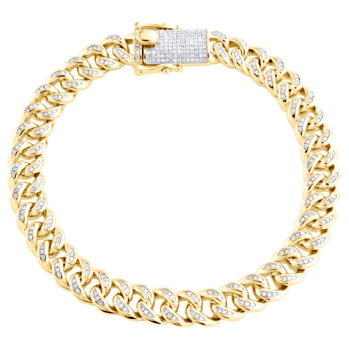 "Sterling Silver Yellow Finish Diamond Miami Cuban Link 8.75mm Bracelet 8"" Box Clasp 1.75 CT."
