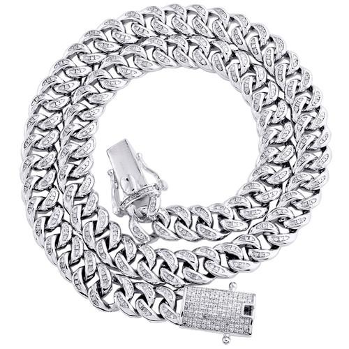 """Diamond Miami Cuban Choker Chain Box Clasp 8.7mm White Sterling Silver Necklace 20-24"""""""