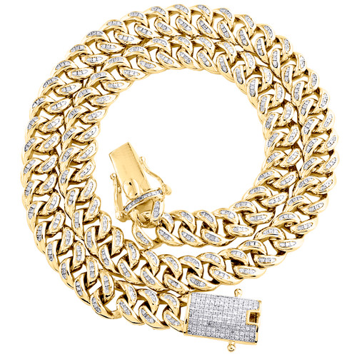 Diamond Miami Cuban Choker Chain Box Clasp 8.7mm Yellow Sterling Silver Necklace 20-24""