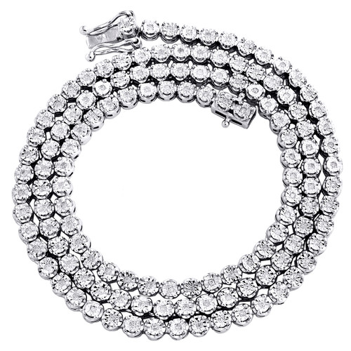 """Mens 1 Row 3.50mm Necklace Genuine Diamond Link Choker White Sterling Silver Chain 18"""" - 24"""""""