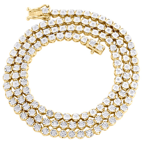 """Mens 1 Row 3.50mm Necklace Genuine Diamond Link Choker Yellow Sterling Silver Chain 18"""" - 24"""""""