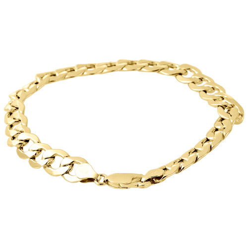 "Men's Real 10K Yellow Gold Hollow Cuban Curb Link 8mm Bracelet 8"" & 9"""
