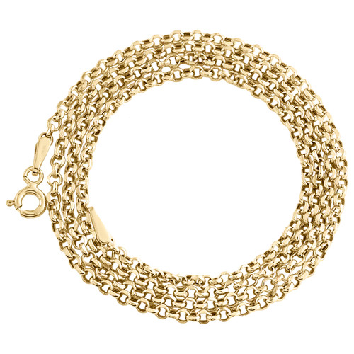 Real 10K Yellow Gold 2.50mm Open Circle Rolo Chain Link Necklace 20 - 24 Inches