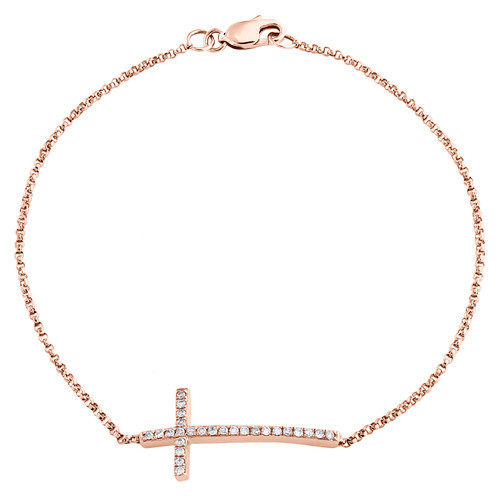 10K Rose Gold Round Diamond Sideways Cross Bracelet Statement Pave Charm 1/8 CT.