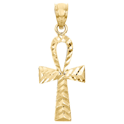 "10K Yellow Gold Diamond Cut Egyptian Ankh Cross Pendant 1.05"" Textured Charm"