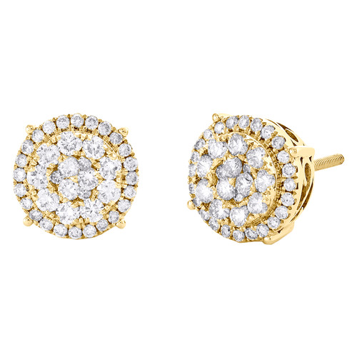 10K Yellow Gold Round Diamond Halo Stud 10mm Prong Set Cluster Earrings 7/8 CT.
