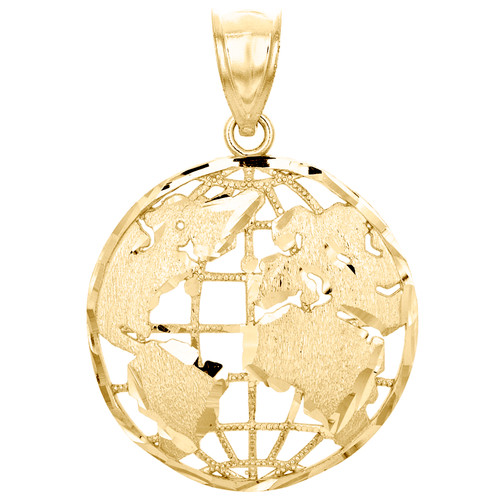 "10K Yellow Gold World Map Globe Diamond Cut Pendant 1.30"" Men's Statement Charm"