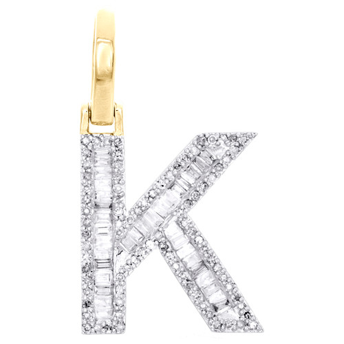 "10K Yellow Gold Baguette Diamond Letter K Mini Pendant 1"" Initial Charm 0.45 CT."