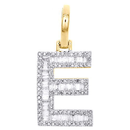 "10K Yellow Gold Baguette Diamond Letter E Mini Pendant 1"" Initial Charm 0.45 CT."