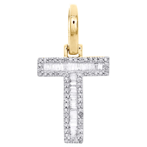 "10K Yellow Gold Baguette Diamond Letter T Mini Pendant 1"" Initial Charm 0.45 CT."