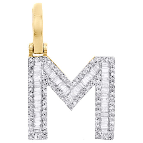 "10K Yellow Gold Baguette Diamond Letter M Mini Pendant 1"" Initial Charm 0.45 CT."