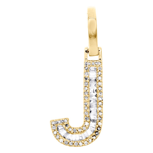 "10K Yellow Gold Baguette Diamond Letter J Mini Pendant 1"" Initial Charm 0.28 CT."