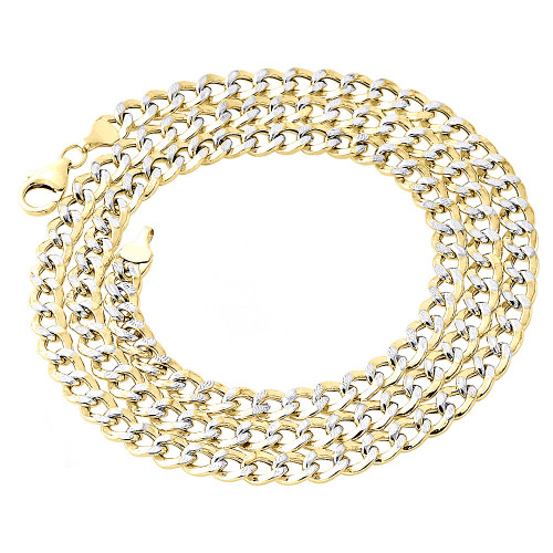 1/10th 10K Yellow Gold Diamond Cut Curb Cuban Link Chain Necklace 6mm 18-30 Inch