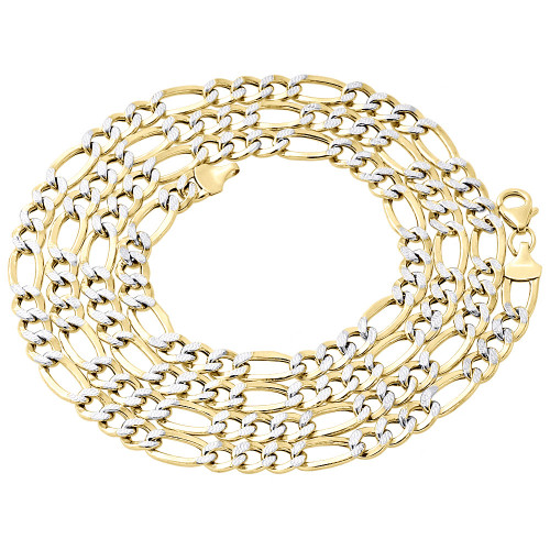 1/10th 10K Yellow Gold Diamond Cut Figaro Link Chain Necklace 6mm 18-30 Inches