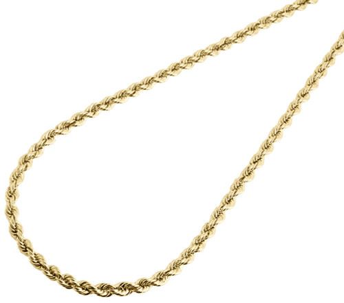 Mens Ladies 1/10th Yellow Gold 4mm Hollow Rope Chain Necklace 18 - 30 Inches
