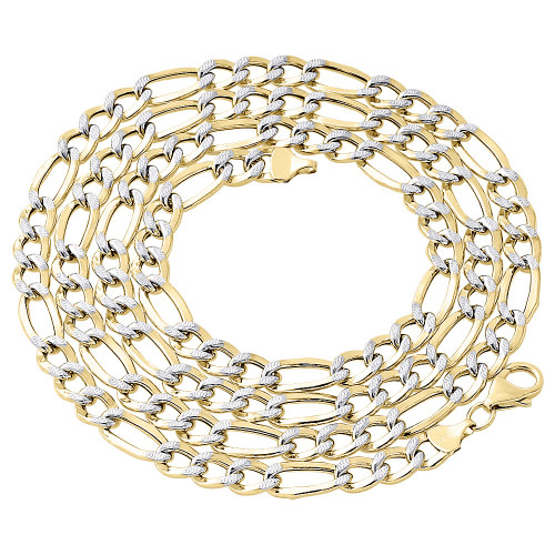 1/10th 10K Yellow Gold 7mm Diamond Cut Figaro Link Chain Necklace 18-30 Inch