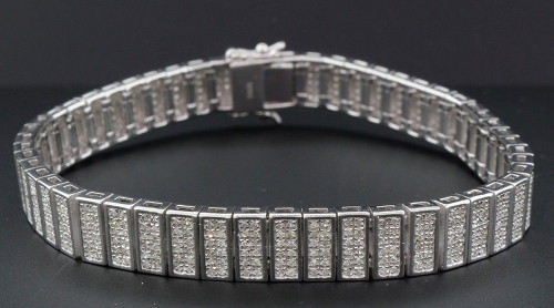 "Statement Diamond Bracelet Mens Sterling Silver 7.25"" Pave Round Cut 2.50 CT. -"