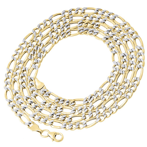1/10th 10K Yellow Gold 4mm Diamond Cut Figaro Link Chain Necklace 18-30 Inches