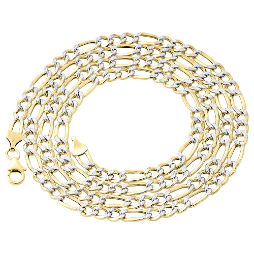 1/10th 10K Yellow Gold 5mm Diamond Cut Figaro Link Chain Necklace 18-30 Inches