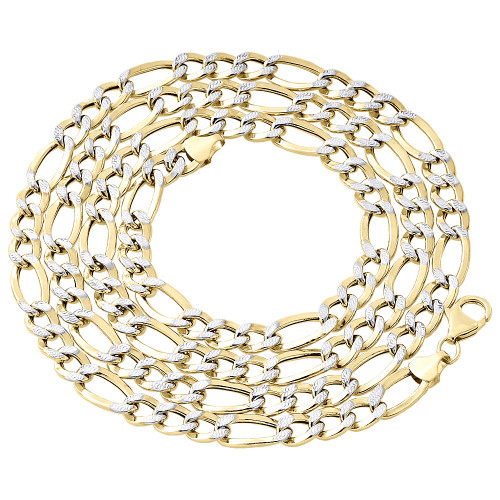 1/10th 10K Yellow Gold 7mm Diamond Cut Figaro Link Chain Necklace 18-30 Inches
