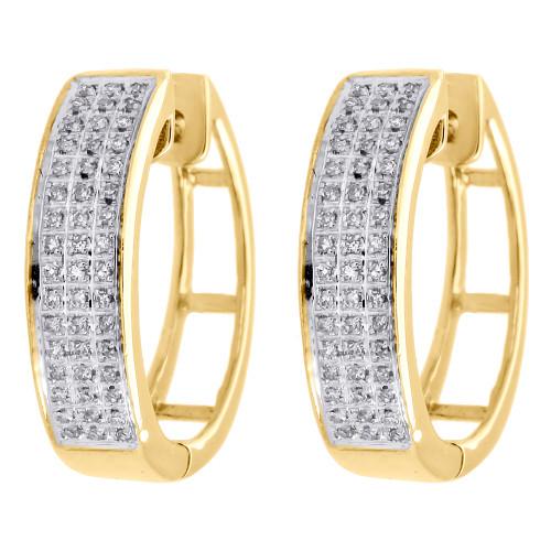 Ladies 10k Yellow Gold Real Diamond 20mm Pave Set Huggie Hoop Earrings 0.20 CT.