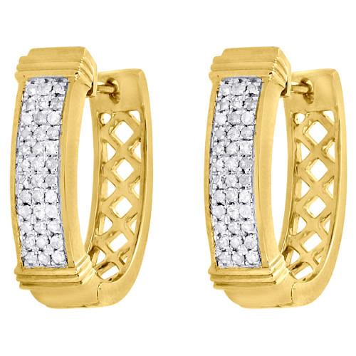 10K Yellow Gold Round Diamond Hoops Ladies 3 Row Pave Huggie Earrings 0.30 Ct.