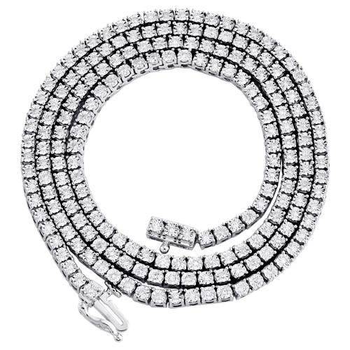 "10K White Gold 1 Row Diamond Tennis 3mm Choker Link Chain 22"" Necklace 1.33 CT."