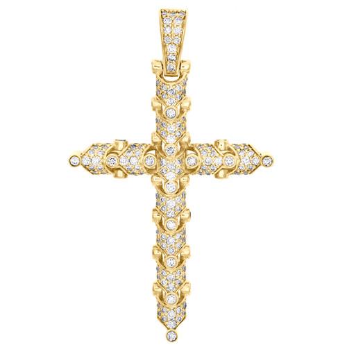"10K Yellow Gold Round Diamond Cross Pendant 2.25"" Statement Pave Charm 2.43 CT."