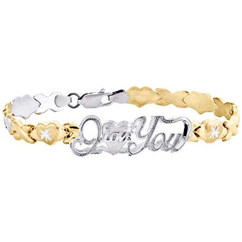 1/10th 10K Yellow Gold  Two Tone I Love You XOXO Stampato Statement Bracelet 7""