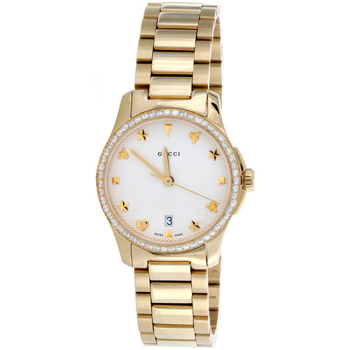 Gucci Ya126576 Diamond Watch G-Timeless 27mm Gold PVD Steel Silver Dial  0.80 CT