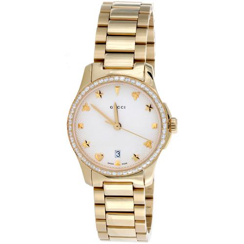 Gucci Ya126576 Diamond Watch G-Timeless 27mm Gold PVD Steel Silver Dial  0.80 CT