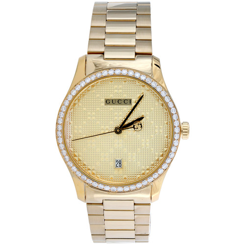 Gucci Ya126461 Diamond Watch G-Timeless 38mm Gold PVD Steel Pattern Dial 1.75 CT