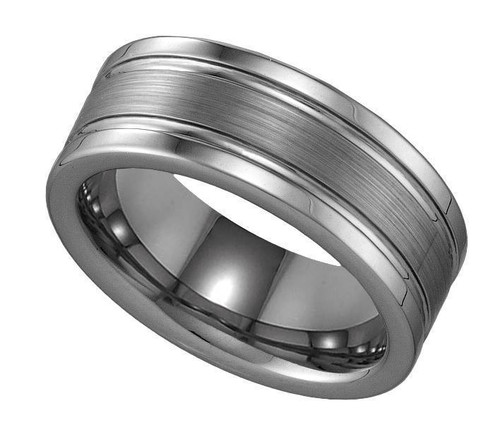 Geraud Tungsten Wedding Band Men's Brushed Finish Comfort Fit 8mm Sz 8 to 13