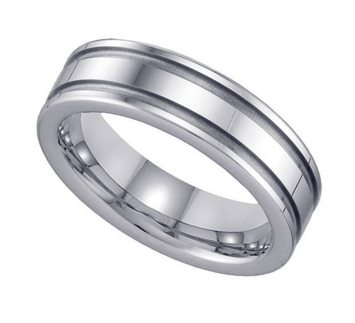 Geraud Tungsten Wedding Band Men's Grooved & Comfort Fit 6mm Sz 7 to 14