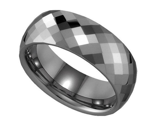 Geraud Tungsten Wedding Band Men's Facetted & Comfort Fit 8mm Sz 7 to 14