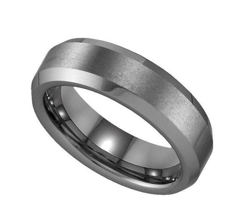 Geraud Tungsten Wedding Band Men's Brushed Finish & Beveled Edge 6mm Sz 7 to 14