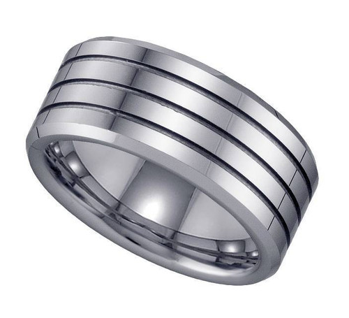 Geraud Tungsten Wedding Band Men's Triple Grooved & Comfort Fit 9mm Sz 7 to 14