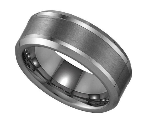 Geraud Tungsten Wedding Band Men's Brushed Inlay & Comfort Fit 8mm Sz 7 to 14