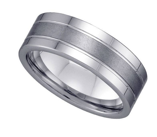 Geraud Tungsten Wedding Band Men's Grooved Brushed & Comfort Fit 8mm Sz 7 to 14
