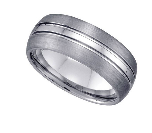 Geraud Tungsten Wedding Band Men's Domed Grooved Brushed Finish 8mm Sz 7 to 14
