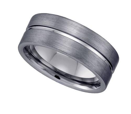 Geraud Tungsten Wedding Band Men's Grooved & Brushed Finish 8mm Sz 7 to 14
