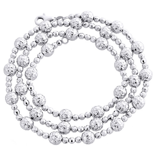 14KT White Gold 6mm Candy / Moon Cut Italian Bead Chain Necklace 18 Inches