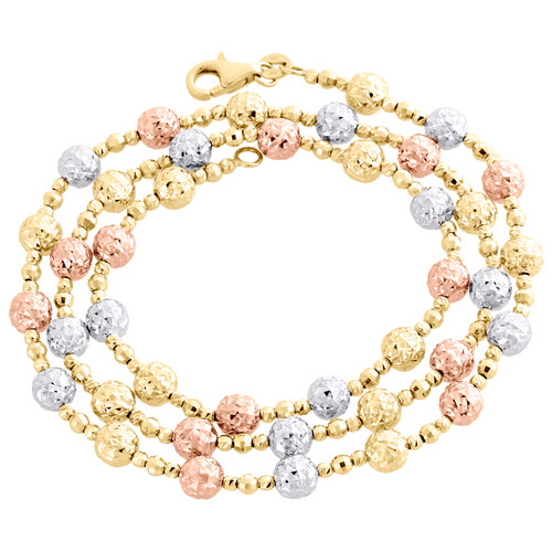 14KT Tri Color Gold 6mm Candy / Moon Cut Italian Bead Chain Necklace 20 Inches