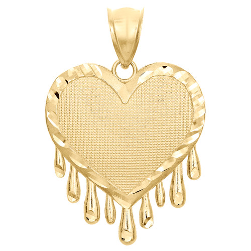 "10K Yellow Gold Love & Heart Drips Diamond Cut Pendant 1.40"" Statement Charm"
