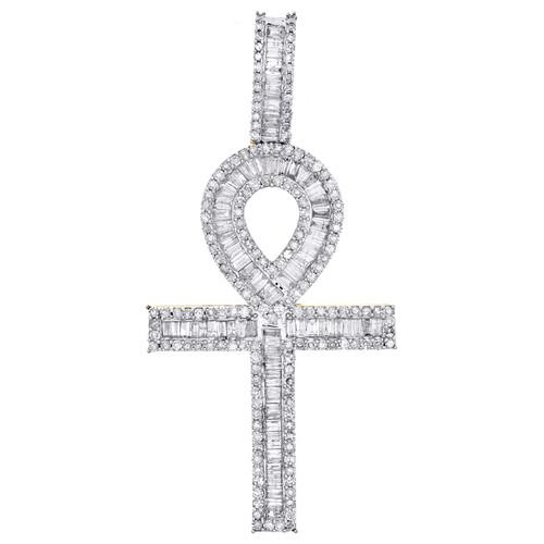 "10K Yellow Gold Round & Baguette Diamond Ankh Cross Pendant 2"" Charm 1.50 CT."