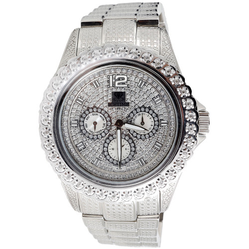 Mens Diamond Watch Ice Time Bling Jojo Jojino Joe Rodeo Illusion Band 0.25 CT.