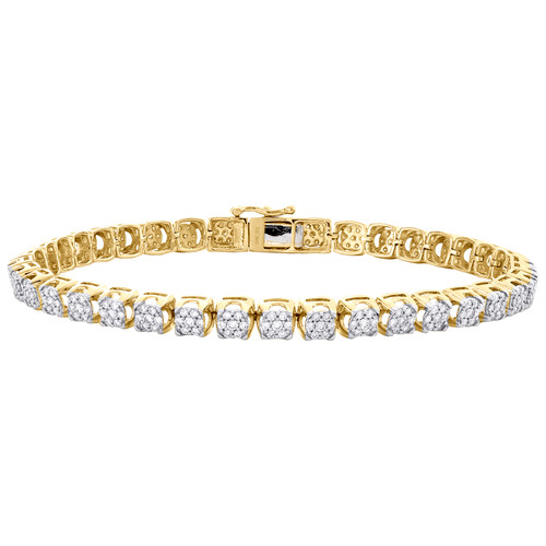 "10K Yellow Gold Round Diamond Prong Set 6mm Cluster Statement 9"" Bracelet 3 CT."